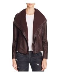 T Tahari | Brown Andreas Leather & Knit Jacket | Lyst