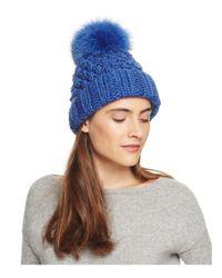 Kyi Kyi | Blue Popcorn Cuff Slouchy Hat With Fox Fur Pom-pom | Lyst