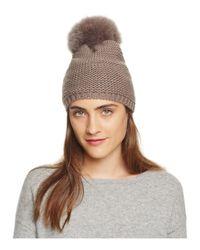 Kyi Kyi | Brown Slouchy Hat With Fox Fur Pom-pom | Lyst