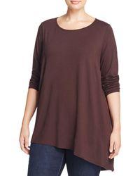 Eileen Fisher | Purple Asymmetric Tunic Top | Lyst