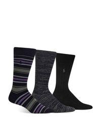 Polo Ralph Lauren - Black Super Soft Striped, Marled & Solid Socks, Pack Of 3 for Men - Lyst