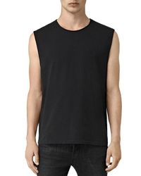 AllSaints - Black Mehson Rolled Trim Crewneck Tank for Men - Lyst