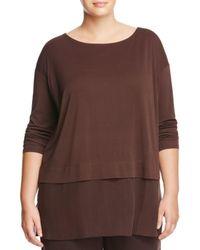Eileen Fisher | Brown Layered-look Silk Sweatshirt | Lyst