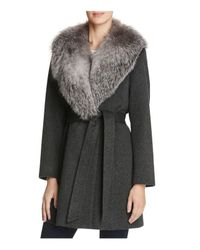 Sofia Cashmere | Gray Fur Collar Wool & Cashmere Wrap Coat | Lyst