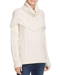 Joie - White Viviam Fringe-trimmed Cable Sweater - Lyst