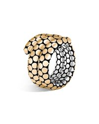 John Hardy | Metallic 18k Yellow Gold And Sterling Silver Dot Double Coil Ring | Lyst