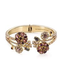 kate spade new york | Purple Trellis Blooms Open Hinge Bangle | Lyst