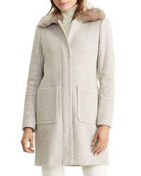 Pink Pony   Natural Lauren Zip Front Faux Fur Collar Coat   Lyst