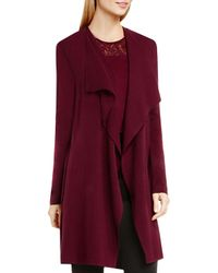 Vince Camuto - Red Draped Cotton Cardigan - Lyst