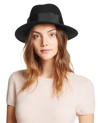 kate spade new york | Black Classic Fedora With Grosgrain Tab Bow | Lyst