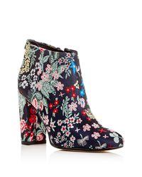 Sam Edelman | Blue Campbell Floral Jacquard Block Heel Booties | Lyst