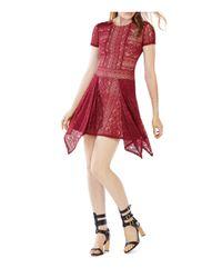 BCBGMAXAZRIA | Red Aileen Lace Handkerchief Hem Dress | Lyst