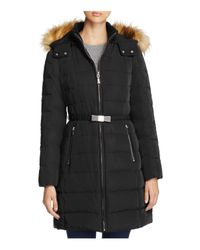 kate spade new york | Black Bow Buckle Belted Down Coat | Lyst