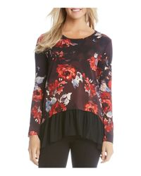 Karen Kane | Multicolor Painted Rose Sheer Hem Top | Lyst