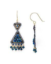Miguel Ases | Blue Beaded Triangle Drop Earrings | Lyst