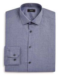 Theory | Blue Chambray Solid Regular Fit Dress Shirt for Men | Lyst