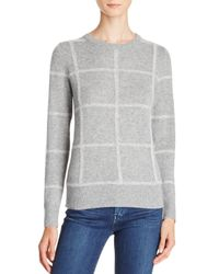 Theory - Gray Kaylenna Grid-print Sweater - 100% Exclusive - Lyst