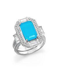 Judith Ripka | Blue Sterling Silver Doublet Baguette Ring | Lyst