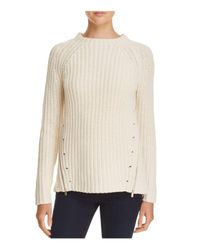 Aqua | White Asymmetric Zip Crewneck Sweater | Lyst