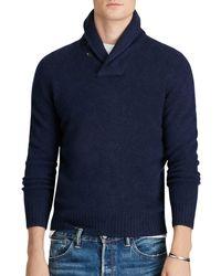 Polo Ralph Lauren | Blue Merino-cashmere Shawl Collar Sweater for Men | Lyst