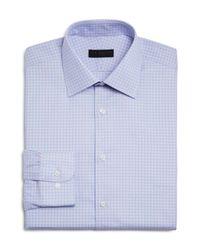 Ike Behar | Blue Small Gingham Check Regular Fit Dress Shirt for Men | Lyst