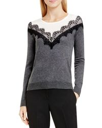 Vince Camuto - Gray Lace Trim Color Block Sweater - Lyst