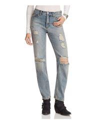 Free People | Destroyed Boyfriend Jeans In Denim Blue | Lyst