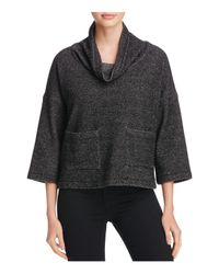 Eileen Fisher | Black Cropped Patch Pocket Sweater | Lyst