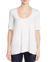 Three Dots | White Scoop Neck High/low Tee | Lyst