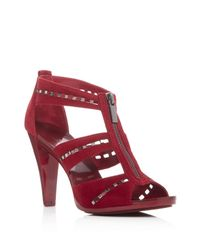 MICHAEL Michael Kors | Red Berkley Punch Embellished T-strap Sandals | Lyst