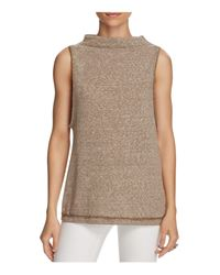Free People | Natural Madrid Mock Neck Top | Lyst