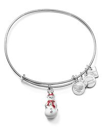 ALEX AND ANI | Metallic Charity By Design Snowman Charm Expandable Wire Bangle | Lyst