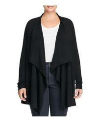 Eileen Fisher | Black Merino Wool Cascade Cardigan | Lyst