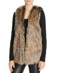 Splendid - Brown Faux Fur Open-front Vest - Lyst