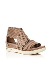 Eileen Fisher | Brown Perforated Nubuck Leather Sandals | Lyst