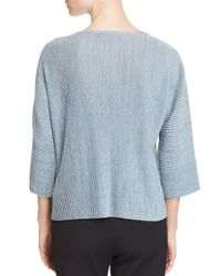 Eileen Fisher - Blue Ribbed Metallic Knit Top - Lyst