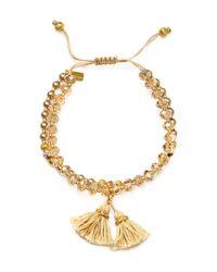 Chan Luu   Metallic Swarovski Crystal Beaded Tassel Bracelet   Lyst