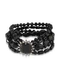 Carolee - Black Hematite-tone Jet Stone And Beaded Multi-layer Bracelet - Lyst