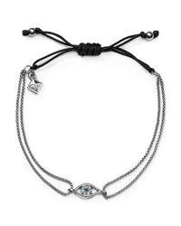 Rebecca Minkoff | Metallic Evil Eye Adjustable Pull-tie Bracelet | Lyst