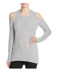 MICHAEL Michael Kors | Gray Cold-shoulder Cable-knit Sweater | Lyst