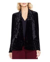 Vince Camuto - Black Draped Open Front Crushed Velvet Jacket - Lyst