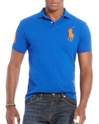 Polo Ralph Lauren | Blue Custom-fit Big Pony Mesh Slim Fit Polo Shirt for Men | Lyst