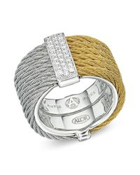 Alor - Metallic Two Tone Cable Ring With Diamonds - Lyst