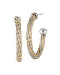 Alor | Metallic Two Tone Cable Hoop Earrings | Lyst