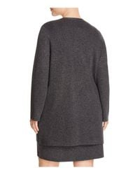 Eileen Fisher - Gray Open Front Cardigan - Lyst