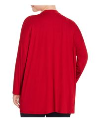 Eileen Fisher - Red Mock Neck Jersey Top - Lyst