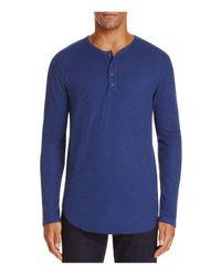 Goodlife | Blue Slub Knit Long Sleeve Henley Tee for Men | Lyst