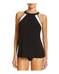 Miraclesuit | Black Spectra Triad Color Block Tankini Top | Lyst