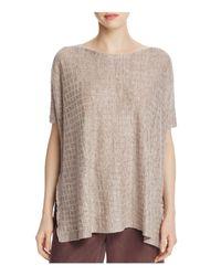 Eileen Fisher | Natural Grid Texture Linen Top | Lyst