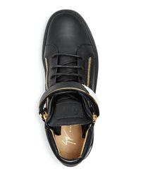 Giuseppe Zanotti - Black Men's Leather Mid Top Sneakers for Men - Lyst
